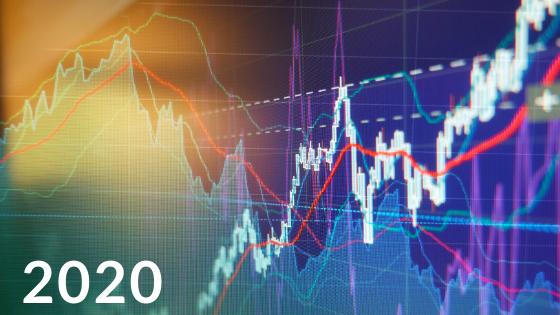 Digital graph depicting economic trends for 2020