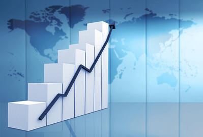 business statistics in blue - white chart with a blue arrow going up
