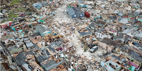 Aerial view of the Bahamas after Hurricane Dorian created devastating damage