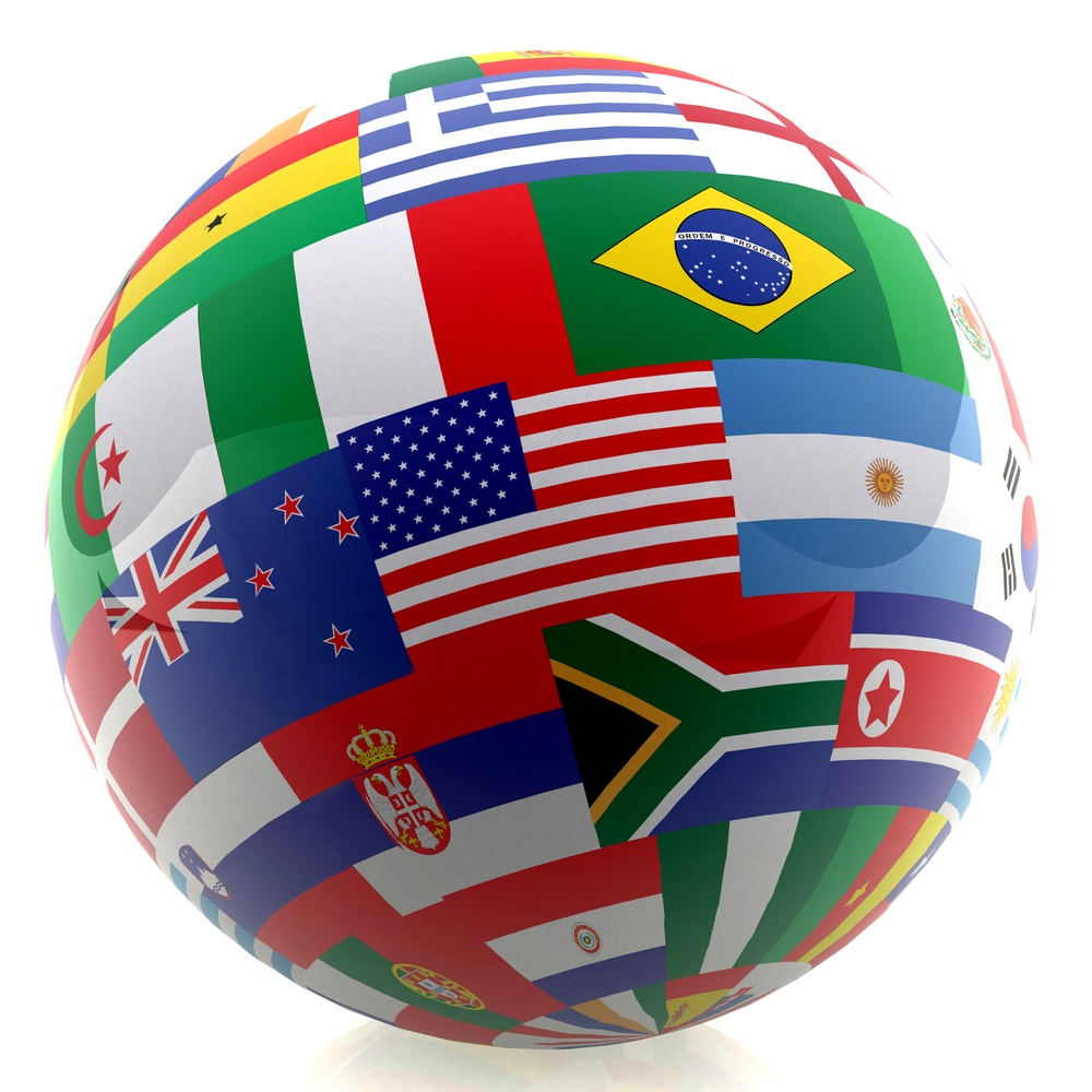 3D football with the flag of different countries - isolated over a white background
